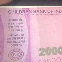 ATM से निकला 2000 का नोट, RBI की जगह लिखा 'चिल्ड्रन बैंक ऑफ इंडिया'