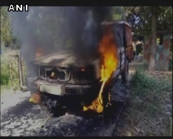 over death of a person mob set a police vehicle afire in bihar