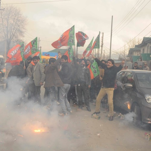 BJP victory celebration in kashmir valley