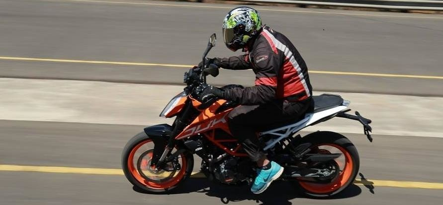 first test ride of KTM 390 Duke in pune test track