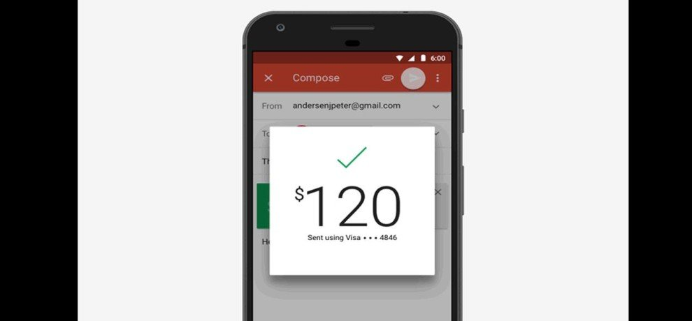 Gmail for Android now send and receive money