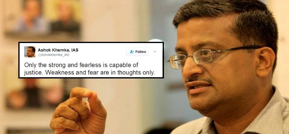 ashok khemka tweet on CM Manohar Lal khattar