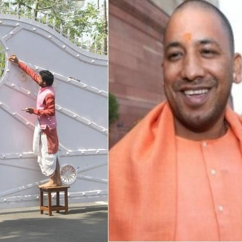 worship and purification in of up cm house for adityanath