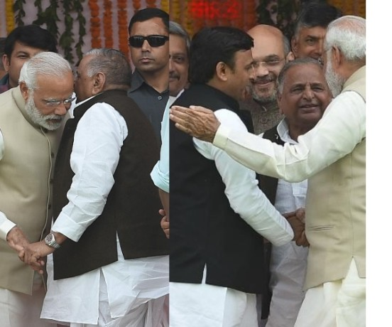 pm modi meets akhilesh and mulayam after swearing-in ceremony