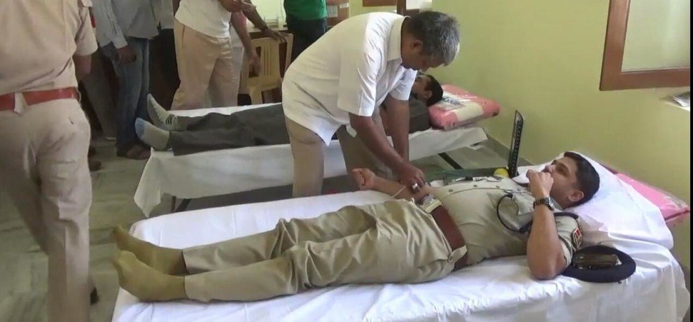 Blood donation by policemen on the date of death of martyr constable Khumaram