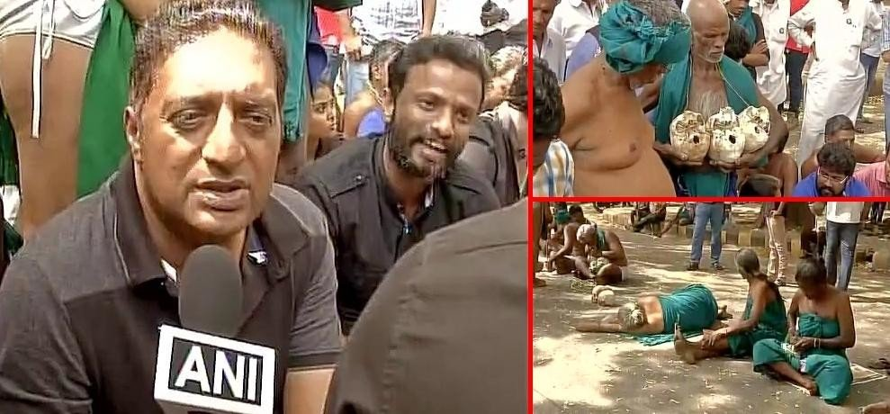 Actors Prakash Raj join the farmers from Tamil Nadu, protesting at Jantar Mantar for drought relief