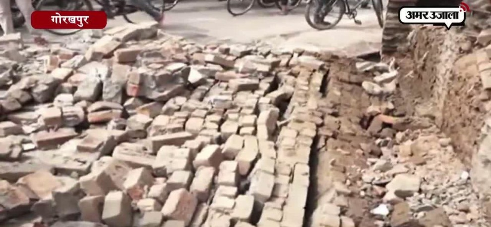 AN ILLIGALY CONSTRUCTED BUILDING FALLEN IN GORAKHPUR