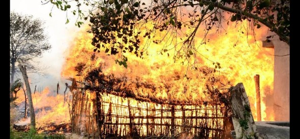 20 houses burnt by fire in Dalit habitation