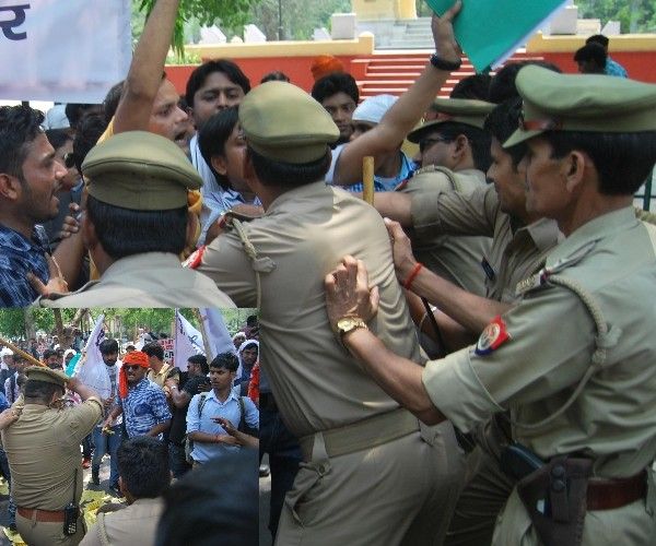 lathicharge on UPSSSC applicants in Lucknow.
