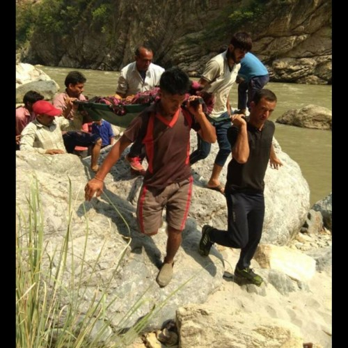 Dead bodies being removed in very bad condition