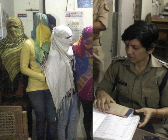 police raids in a massage parlour in Lucknow.