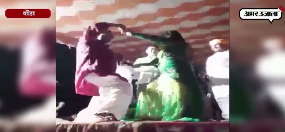UTTAR PRADESH POLICE INSPECTOR VULGAR DANCE WITH BAR DANCERS IN GONDA