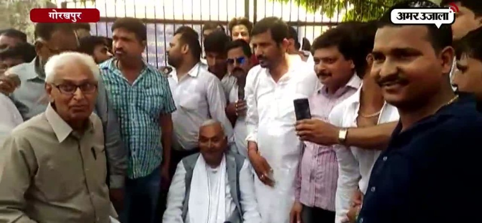 bsp workers protest against raids on bahubali harishankar tiwari hideout in Gorakhpur