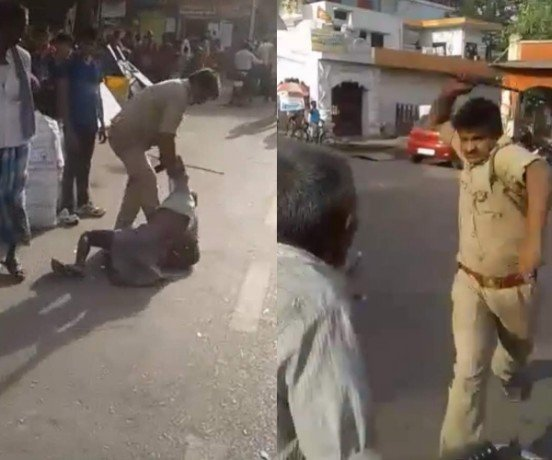 A GRP sepoy beats an old man in Lucknow.