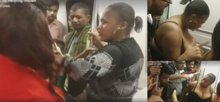 african woman removes her cloth in delhi metro, video goes viral