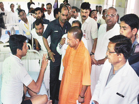cm yogi in action during banda inspection