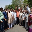 members from agarwal community protest outside the police station