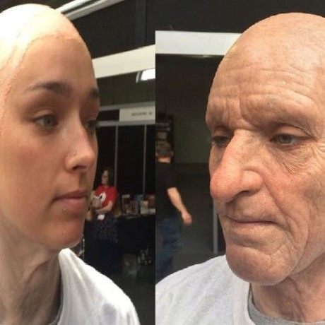 makeup artist transformed a woman in to old lady