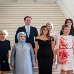 Luxembourg's 'first husband' joined world leaders' spouses for a photo