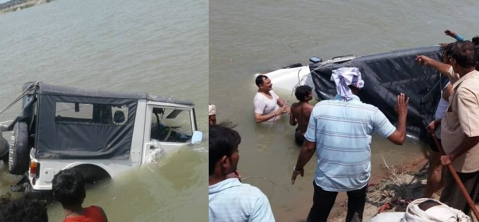 A jeep falls down in a canal in sitapur.