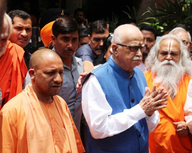 yogi adiyanath with Lal Krishna Advani