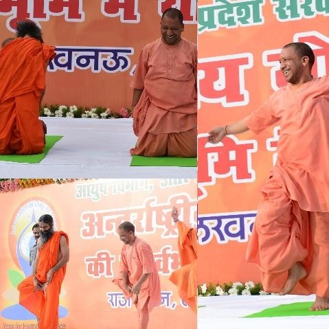 cm adityanath yoga with governor ram naik in lucknow