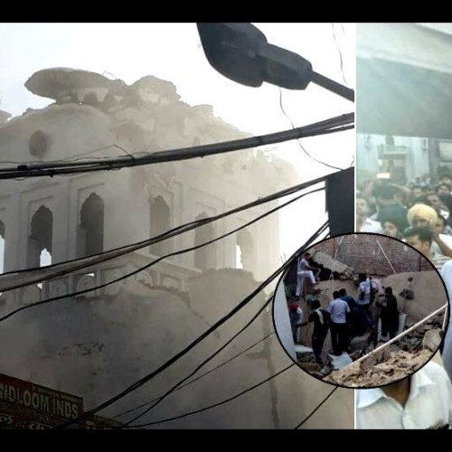 roof of an under construction Gurudwara collapsed in Panipat