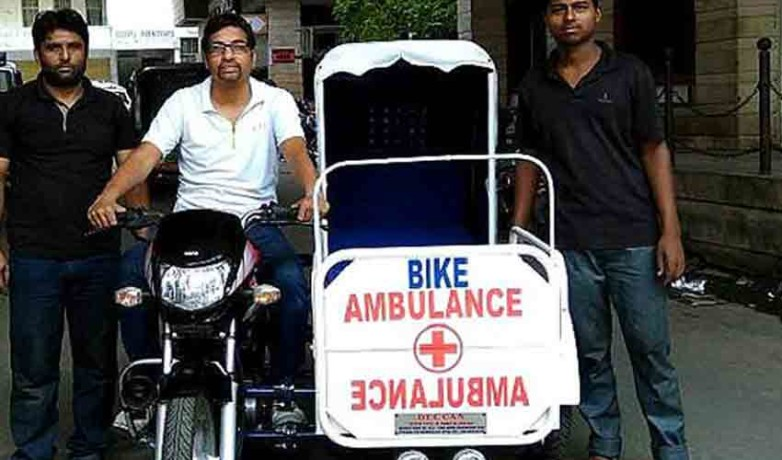 a man from hyderabad made bike ambulance for poors