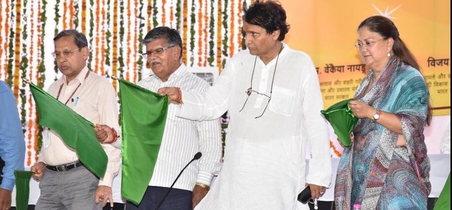 rail minister suresh prabhu inaugurates various rail projects in rajasthan
