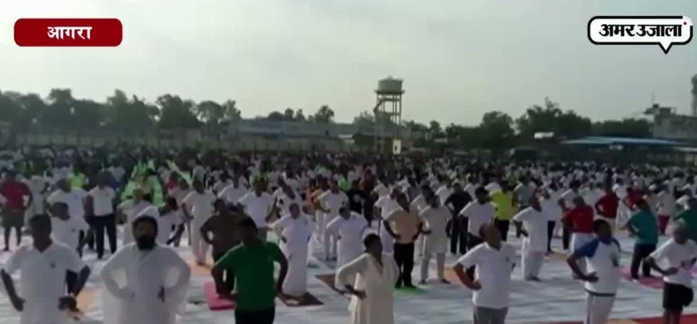 IN AGRA PEOPLE CELEBRATE INTERNATIONAL YOGA DAY