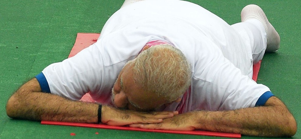 prime minister modi yoga session in lucknow