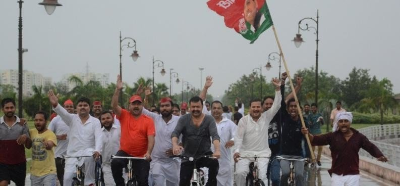 SP leaders do cycle rally in   Lucknow on Yoga Day.