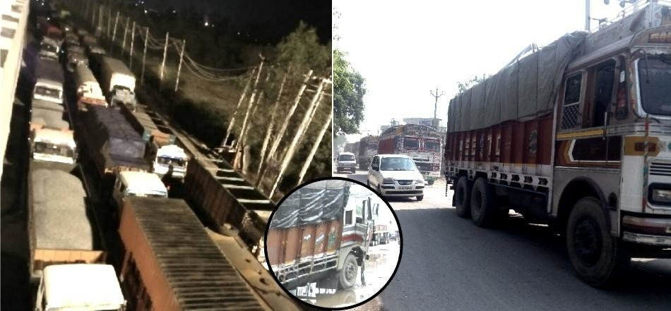 28 km jam between two states, Sonipat news