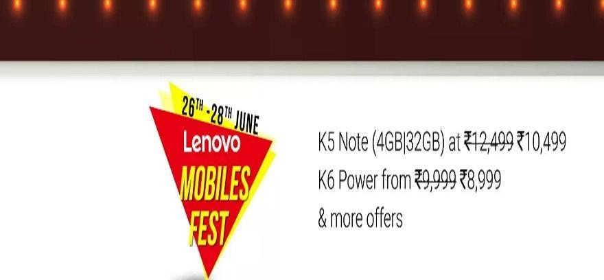 Flipkart Lenovo Mobile Fest Offers, buy smartphone with Discounts