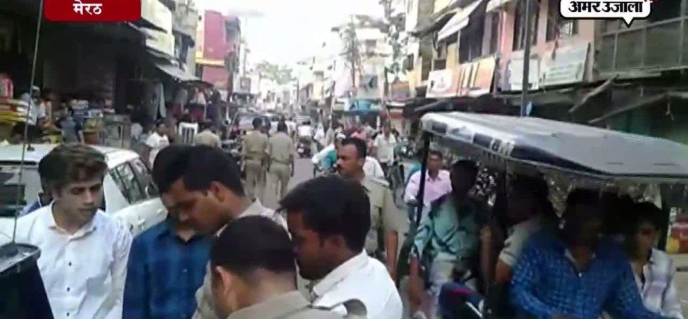 Police flag march in red light area of meerut