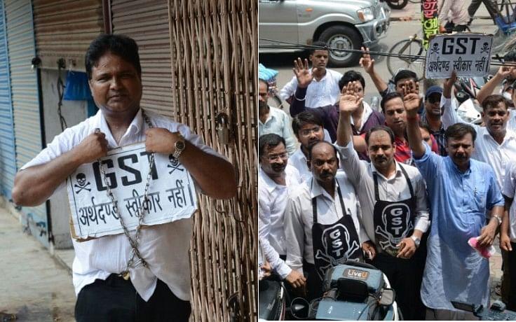 lucknow businessman protest against gst