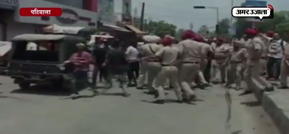 Police baton charge unruly mob after they vandalised public property