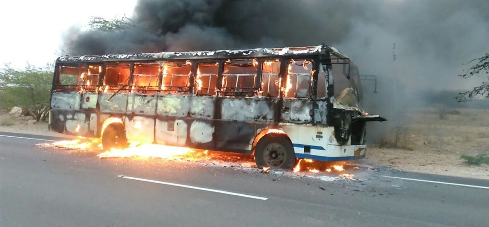 fire broke out in a roadways bus in jodhpur no casualty reported