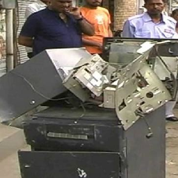 Thieves tried to steal ATMs in bahadurgarh.