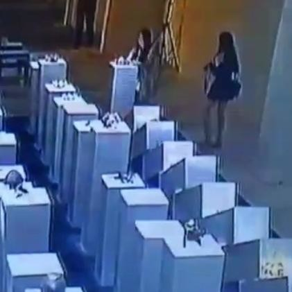 Women breaks art worth crores while taking selfie a 14th factory exhibition in the USA