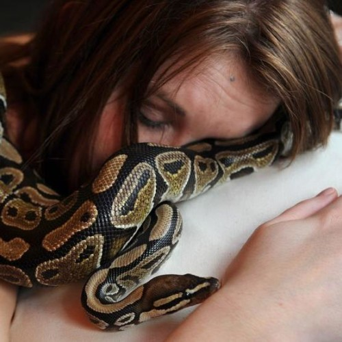Girl discoverd scaring habbit of her pet python while sleeping with reptile