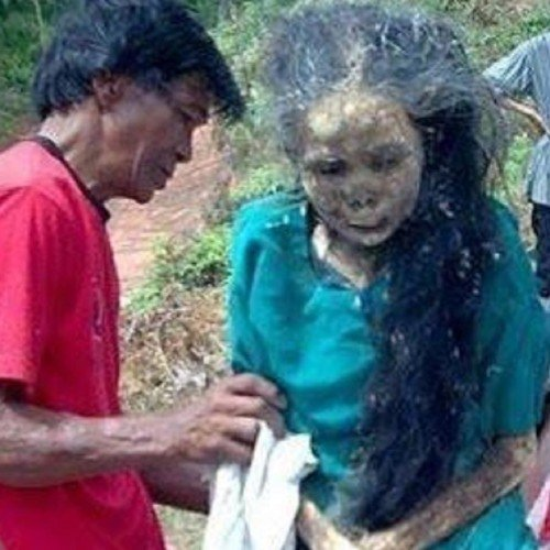 Dead women comes out from grave at Tana Toraja region of South Sulawesi in Indonesia