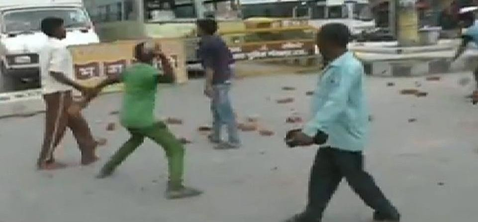 STONE PELTING ON POLICE IN GORAKHPUR