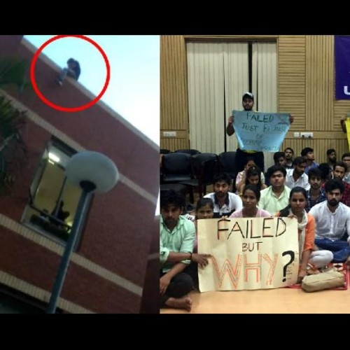 after scoring low marks in du college, students slap professor and climb dean terrace for suicide