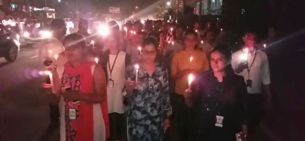 TCS employees candle march in Lucknow.