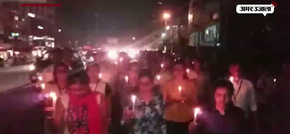 TCS WORKERS DO CANDLE MARCH IN LUCKNOW