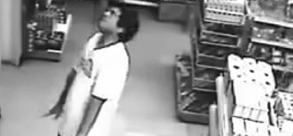 CCTV Footage of man possesd by ghost in a   supermarket