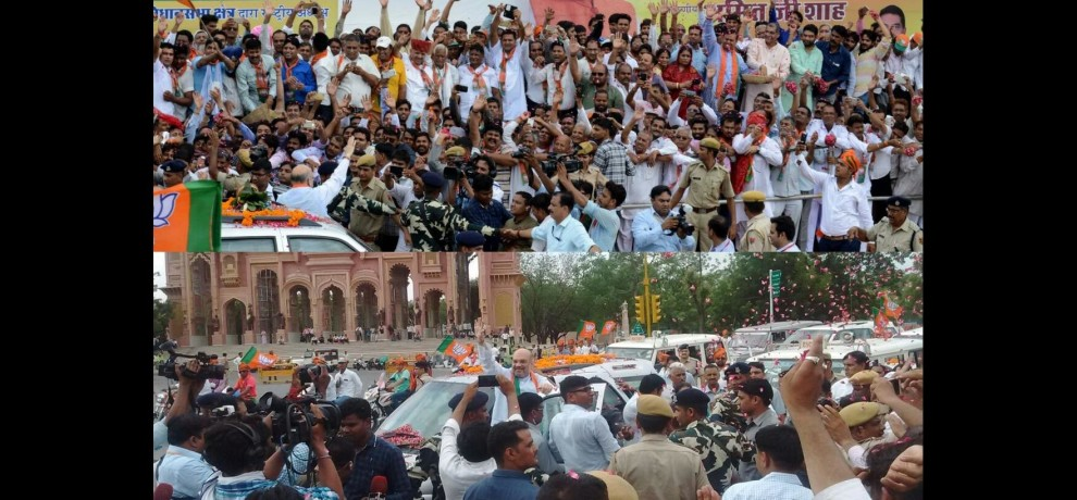 welcome of amit shah in jaipur