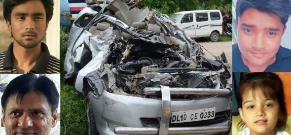 five died in an fatal accident in delhi hole family died accept one in road accident