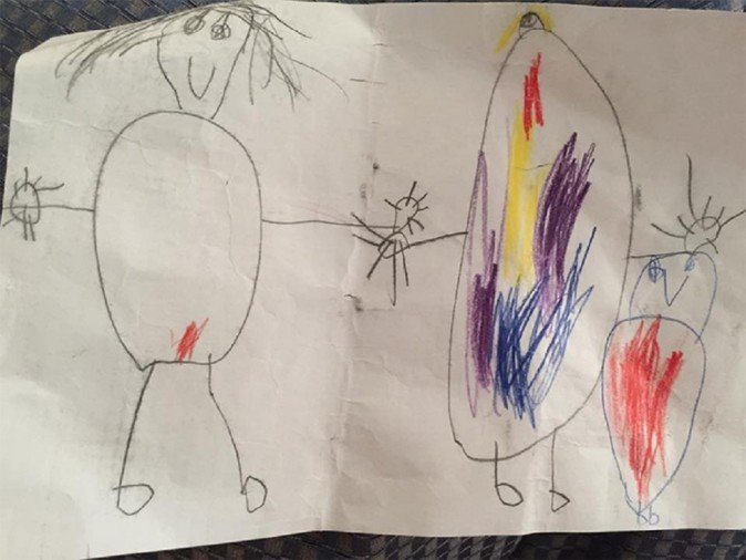 Five Year old son draws family Portrait and put red color on mother picture to mark   her period